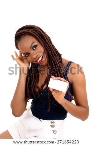 A beautiful young African American woman with long braided brown hair, holding her business card, isolated for white background.  - stock photo