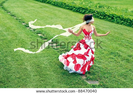 a beautiful young girl called path with tape blindfold - stock photo
