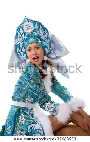 A beautiful young girl in a suit with a surprised face Snow Maiden - stock photo