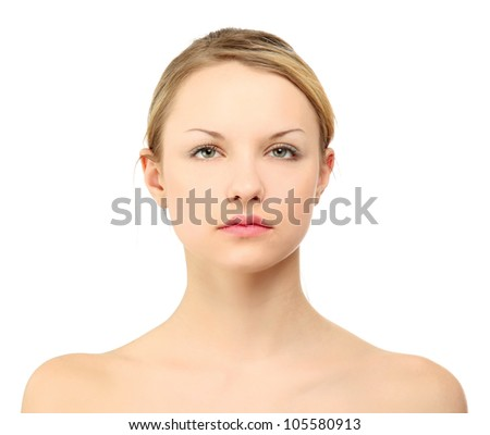 A beautiful young woman, closeup - stock photo