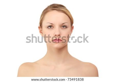 A beautiful young woman, closeup - stock photo