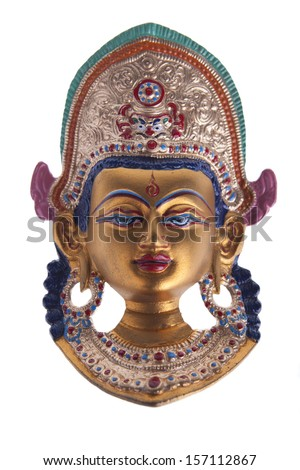 A beautifully decorated Buddha Head on white background. - stock photo