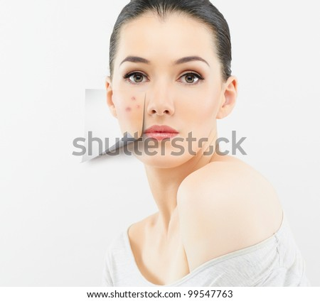 a beauty girl on the grey background - stock photo