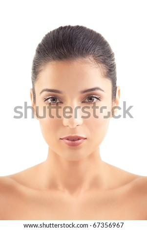 a beauty portrait of a young woman, smiling, shot on white background. - stock photo