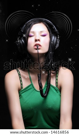 a beauty retro girl with dj headphones - stock photo