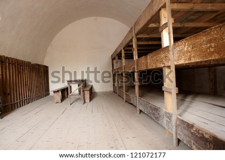 A bedroom in a concentration camp in Terezin - stock photo