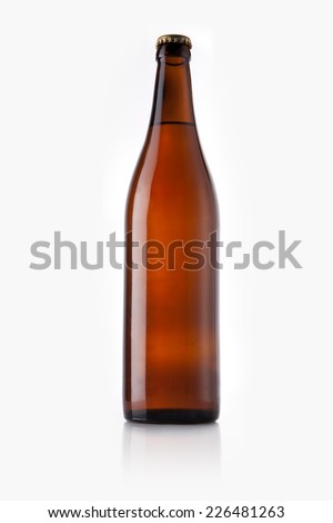 A beer bottle reflective bottom isolated white. - stock photo
