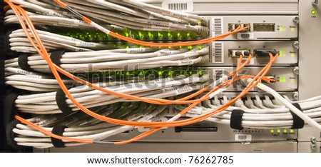 A behind-the-scenes look at technology and wired communications. - stock photo
