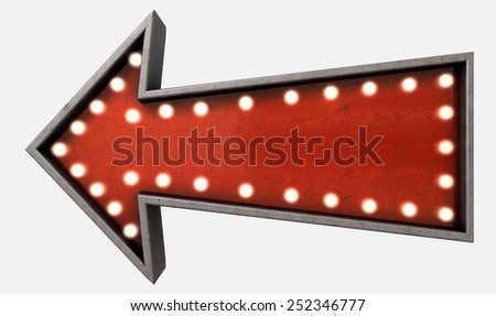 A belle epoque era red vintage arrow sign light by lightbulbs on an isolated white studio background - stock photo