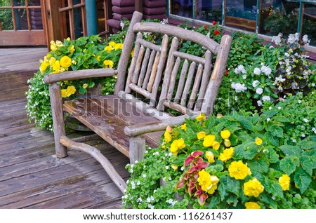 A bench over beautiful outdoor landscape - stock photo