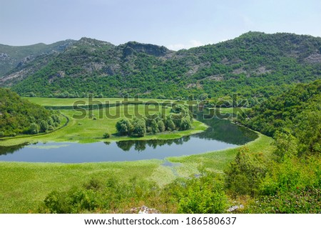 a bend of the Crnojevica River from Rijecani; this is a tributary of Skadar Lake, Montenegro - stock photo