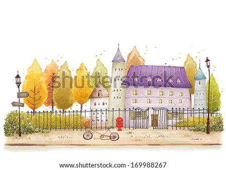 A bicycle sits near a fence and lamp post in front of a house. - stock photo