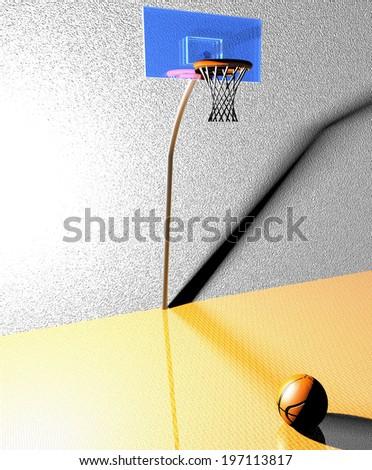A big basket over a basketball over parquet field, 3d render - stock photo