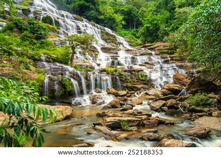 A big beautiful waterfall , Mea ya waterfall in chiangmai , Thailand - stock photo