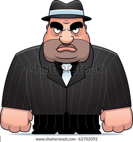 A big cartoon mobster in a suit. - stock photo