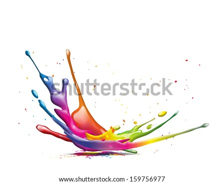 A big colorful ink splash - stock photo