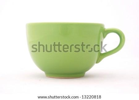 A big green mug isolated on white background - stock photo