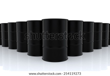 A big group of black new no label oil barrels on white floor. 3D render background - stock photo