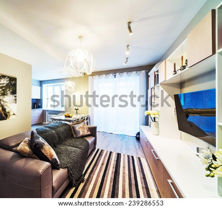 A big modern living room with tv. - stock photo