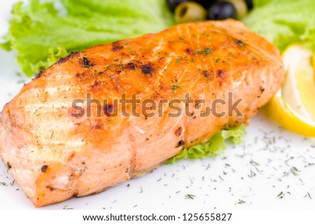 a big piece of grilled salmon, macro - stock photo