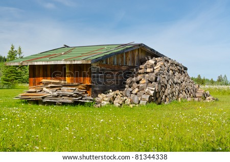 A big pile of firewood drying in front of an old barn in British Columbia, Canada. - stock photo