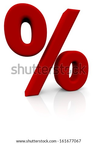 a big red percentage sign with reflections - stock photo