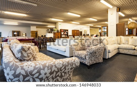 A big shop with various pieces of furniture - stock photo