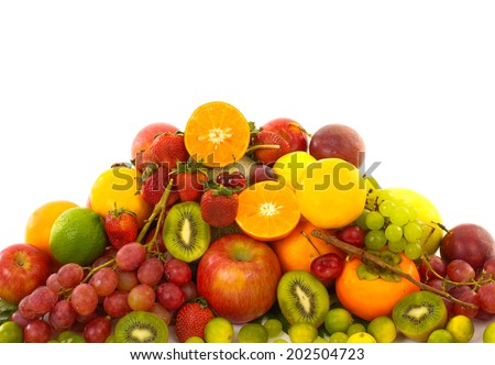 A big variety of exotic fruits - stock photo