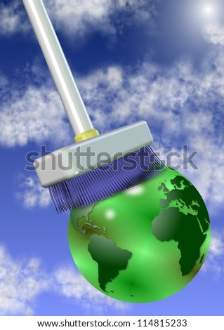 A big white broom cleaning earth globe with sky and clouds in the background / Clean the planet - stock photo