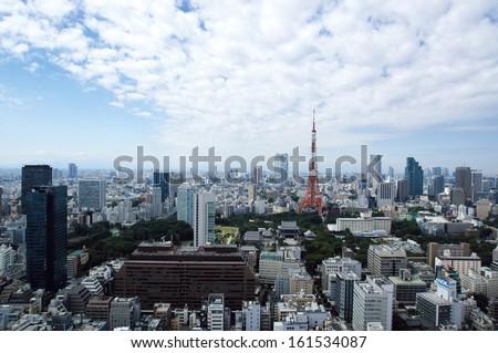 A bird's-eye view of a large metropolitan city. - stock photo