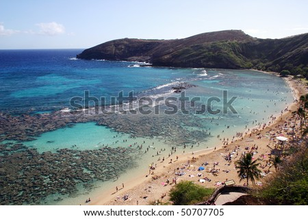 A bird view of Hanauma bay in Hawaii. - stock photo