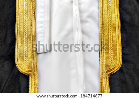 A bisht is a traditional Arabic men�s cloak usually worn over the thobe for prestige on special occasions - stock photo