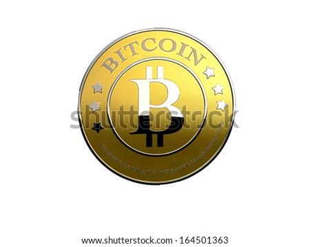 a bitcoin - the new virtual money - stock photo