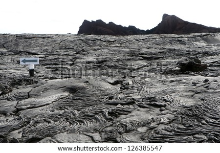 A bizarre landscape on the Galapagos islands looks like a different planet - stock photo