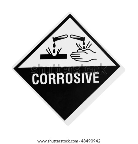 black and white corrosive warning sign over white with clipping path    Warning Signs And Symbols Black And White