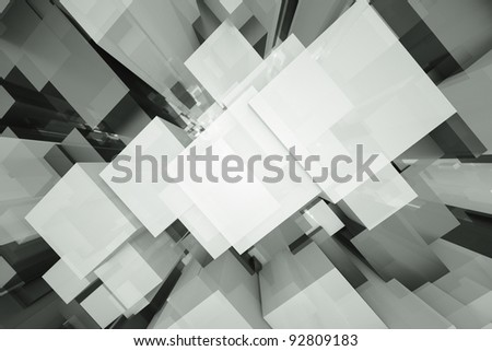 a black and white cubes abstract background - stock photo