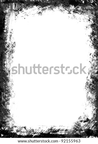 A black and white grunge frame with white  empty space inside - stock photo