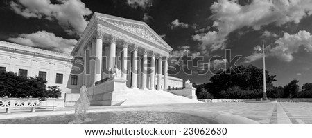 A black and white panorama of the front of the US Supreme Court in Washington, DC. - stock photo