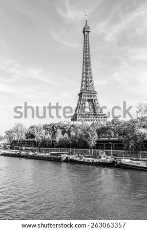 A black and white photo of an Eiffel Tower and buildings, Paris, France - stock photo