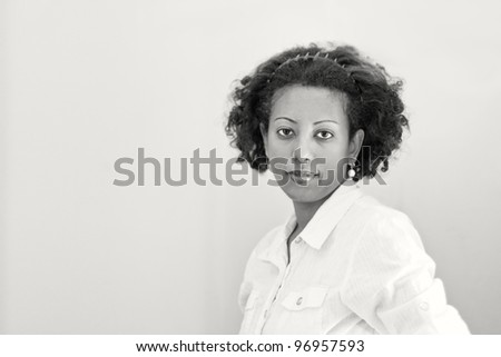A black and white portrait of an ethiopian woman. - stock photo