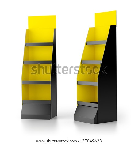A black and yellow blank display with shelves for products and  add. render - stock photo