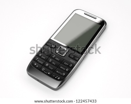 A black cell phone on white background - stock photo