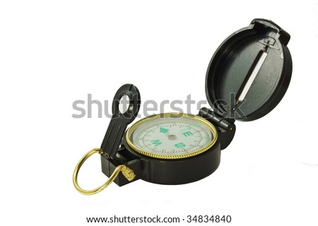 A Black compass on  white - stock photo