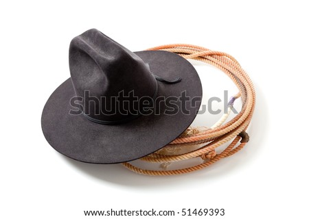 a Black cowboy hat and lariat on a white background - stock photo