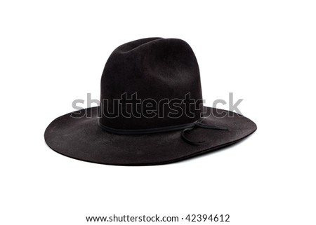 A Black cowboy hat on a white background - stock photo