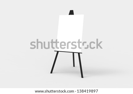 A black easel with a blank white canvas on it. Perfect for pasting artwork, notices or commercial adds. - stock photo