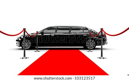 A black elegant car with a red carpet - stock photo