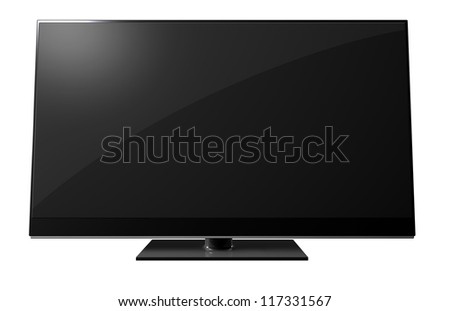 A black flat screen television on an isolated background - stock photo