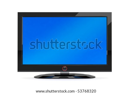 A black generic plasma tv on white background - stock photo