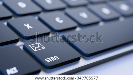 A black keyboard with an email sign - stock photo